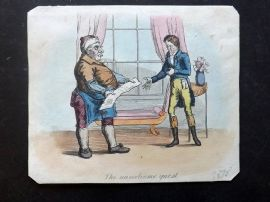 J. Royle (Pub) 1825 Hand Col Caricature. The Unwelcome Guest
